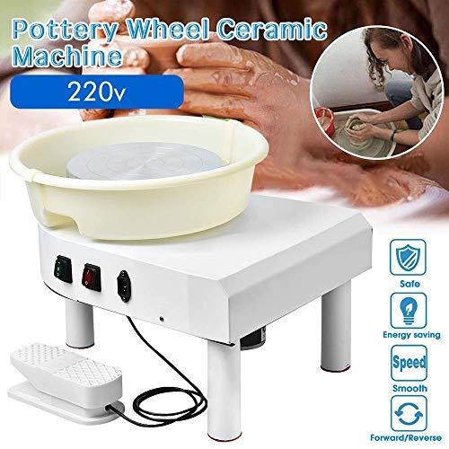 S SMAUTOP Elektrische Töpferscheibe 25CM Keramikformmaschine 350W Elektrische Pottery Wheel mit Fußpedal und Abnehmbarem Becken zum Keramik Clay Craft DIY(Weiß CE)