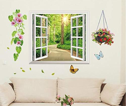 Decors Girlwall Stickers, Woonkamer, Huisdecoratie Stickers, Nep raam, schaduw, Fabriek