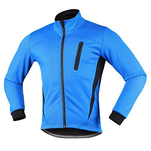 iCREAT Herren Jacket Air Jacket Winddichte Wasserabweisend MTB Mountainbike Jacket Visible reflektierend, Fleece Warm Jacket, Blau GR.XXL