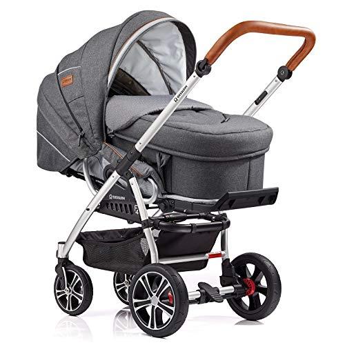 Gesslein Kombi-Kinderwagen F4 Air+ | Gestell: silber eloxiert | Lederschiebegriff: cognac | inkl. C2-Compact Tragetasche | Design: 052052