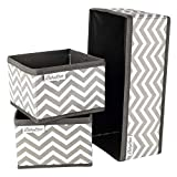 Babylovit 3er Set Aufbewahrungsbox - Organizer für Bad, Wickelkommode, Schubladen - Korb Aufbewahrung - Ordnungsbox in grau & weiß
