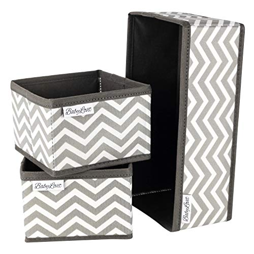 Babylovit 3er Set Aufbewahrungsbox - Faltbox für Bad, Wickelkommode, Schreibtisch - Aufbewahrung -Ordnungsbox - Schubladen Ordnungssystem - Badezimmer Deko