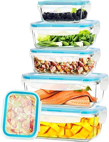 KICHLY Glas-Frischhaltedosen - 12 Teile (6 Behälter mit 6 verschließbaren Deckeln) - Spülmaschinenfest - Gefrierschränke, Mikrowellenfreundlich - BPA-frei, FDA & FSC-zugelassen