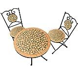 Salon de Jardin Roma - 1 Table & 2 chaises Fer forgé et mosaique - mobilier de Jardin Neuf