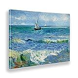 Giallobus - Cuadro - Vincent Van Gogh - El mar en Les Saintes Maries - Lienzo - 70x50 - Listo para Colgar - Cuadros Modernos para el hogar
