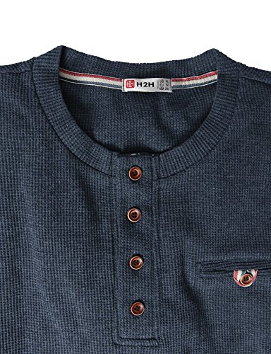 H2H Mens Casual Slim Fit Henley Shirts with Bound Pocket of Waffle Cotton HEATHERNAVY US M/Asia L (KMTTL062)