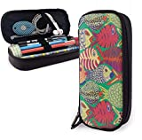 Estuche Lápices Kaffe Fassett Fish Shoal Green Cute Pen Pencil Case Leather 8 X 3.5 X 1.5 Inch Pouch Bag Pencil Case with Double Zipper Holder Box for School Office Girls Boys Adults