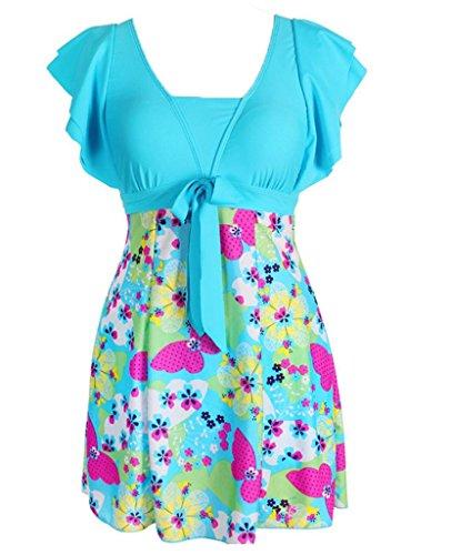 wincolor de una pieza para mujer Plus tamaño florwer Impreso traje de baño Swimdress
