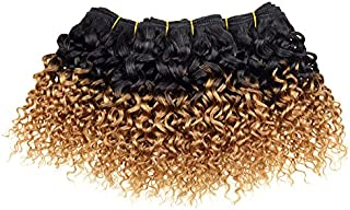 Short Curly Short Wavy Sensationnel Human Hair For Black Women Virgin Peruvian Hair 4 Bundles 8 Inch Short Human Hair Hair Weave Bundles 50g/Pcs Total 200g Wholesale