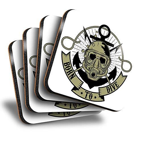 Destination Vinyl ltd Great Posavasos cuadrados (juego de 4) – Born To Dive Scuba Skull Drink brillante posavasos / protección de mesa para cualquier tipo de mesa #6672