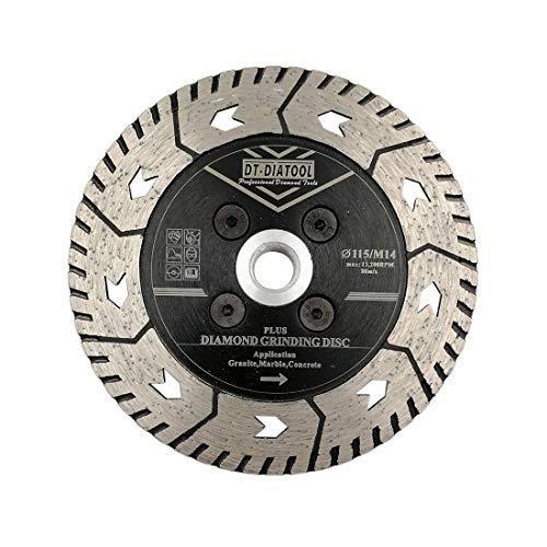 DT-DIATOOL Disco Tronzador Diamante 115 mm x M14 Hoja de Sierra de Doble Cara para Cortar Moler Hormigón Mármol Granito Piedra
