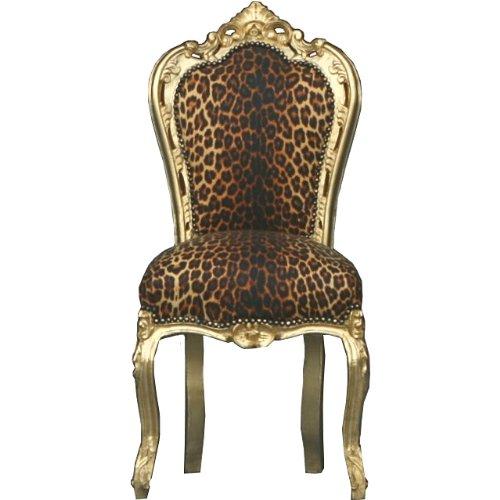 Barock Esszimmer Stuhl Leopard/GoldLudwig XIV Stuhl Wohnung Wohnen Rokoko Jugendstil Prunkstuhl Rokoko