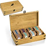 Zen Earth Bamboo Storage Box Tea Chest | Beautiful Wooden Kitchen Organizer with Large, Tall, & Adjustable Shelves | Natural Bamboo Decorative Chest to Organize and Display Teas | 100% Handmade Craft