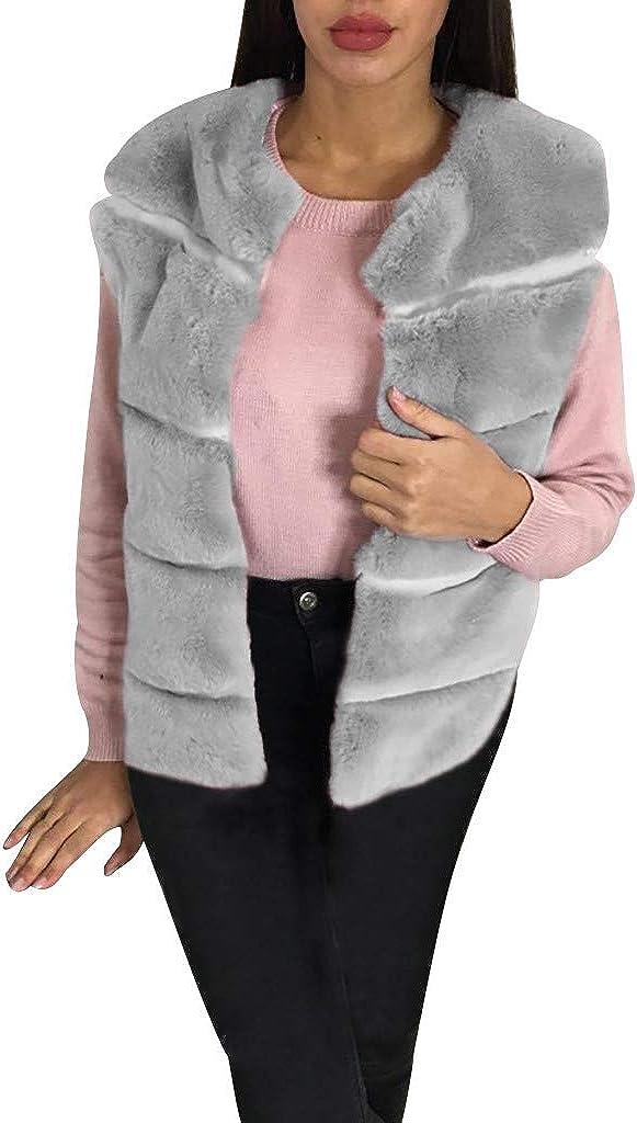 Zainafacai Women's Fashion Autumn and Winter Sleeveless Front Open Warm Short Faux Fur Vests Coat Outwear