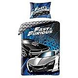 Halantex Fast & Furious - Juego de cama (140 x 200 cm y 70 x 90 cm, 100% algodón)