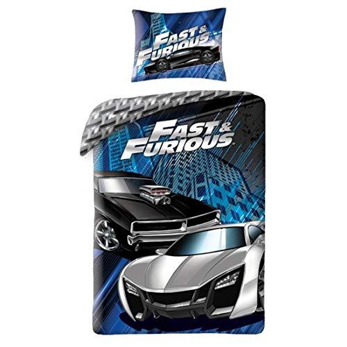 Halantex Parure de lit 100% Coton Fast and Furious - Housse de Couette 140x200 cm + Taie d'oreiller