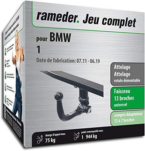 Rameder Pack, attelage rotule démontable + Faisceau 13 Broches Compatible avec BMW 1 (159783-09620-1-FR)