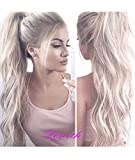 EALGA Ombre Platinum Blonde Lace Front Wigs with Brown Roots Realistic Looking Synthetic Hair White Blonde Wigs for Women 22 inches EALGA-048