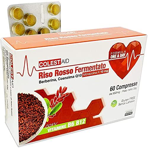 Riso Rosso Fermentato (lievito di riso rosso) | 60 Compresse Riso Rosso Fermentato, Coenzima Q10, Monakolina K, Berberina | Integratore alimentare