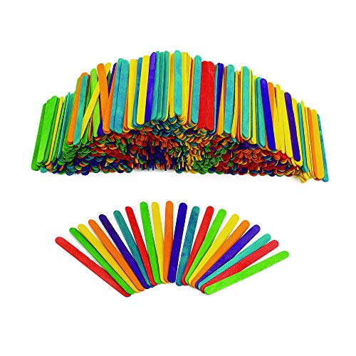 Colorations Regular Colored Wood Craft Sticks Popsicle Sticks, 1000 Pieces,4-1/2: x 3/8' Each