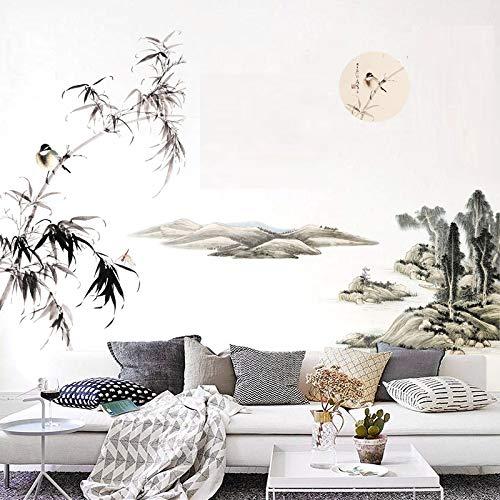 COVPAW® Wandtattoo Wandaufkleber XXL Bambus Landschaft Berg Chinesische Malerei Gemälde Wandsticker Wandbild Bilder Wohnzimmer Schlafzimmer Deco
