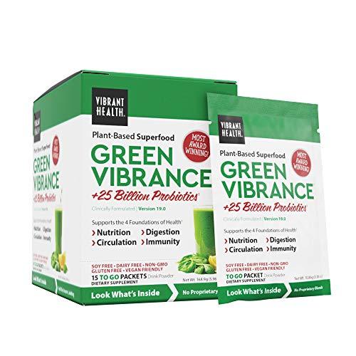 Vibrant Health, Green Vibrance Packets, Travel-Friendly Vegan Superfood Powder, 15 Packets