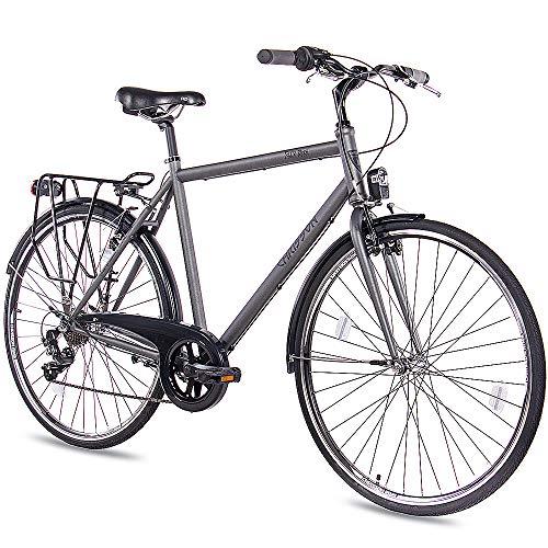 CHRISSON 28 Zoll Citybike Herren - City One anthrazit matt 53 cm - Herrenfahrrad mit 7 Gang Shimano Tourney Kettenschaltung - praktisches Cityfahrrad für Männer