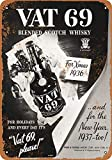 1936 Vat 69 Scotch Whiskey Decoración Metal Wall Art Theatre Carteles para Chicos Snack Bar Carteles de Chapa 12 X 8 in