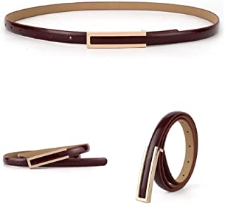 【CaserBay】Women's Fashion Elegant Skinny Patent Leather Belts Waistband Thin Waist Belt With Gold Color Alloy Buckle