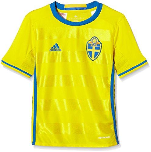 adidas Kinder UEFA EURO 2016 Russland Auswärtstrikot Replica Kurzarm Heimtrikot, Yellow/Bright Royal, 140
