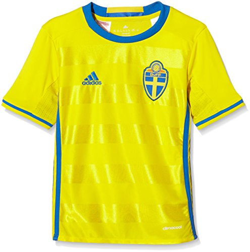adidas Kinder UEFA EURO 2016 Russland Auswärtstrikot Replica Kurzarm Heimtrikot, Yellow/Bright Royal, 152