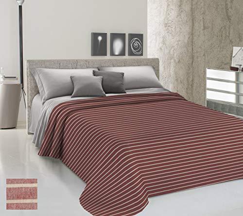 HomeLife Couvre-lit pour lit 2 places printemps, été, teinte en fil [360 x 290] Fabriqué en Italie | Couverture de lit double à rayures 100 % coton | Drap couvre-lit double léger | Maxi rouge