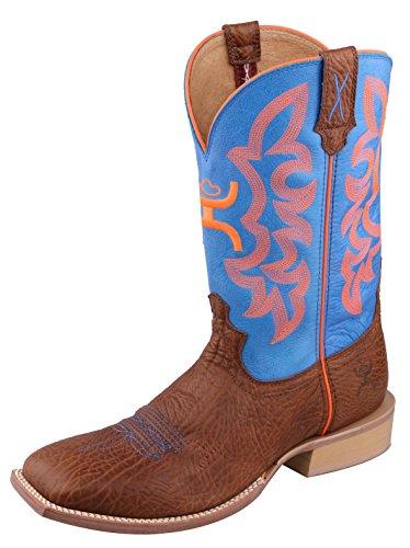 Twisted X Mens Hooey Western Boot, Cognac Bull Hide/Neon Blue, Size 10