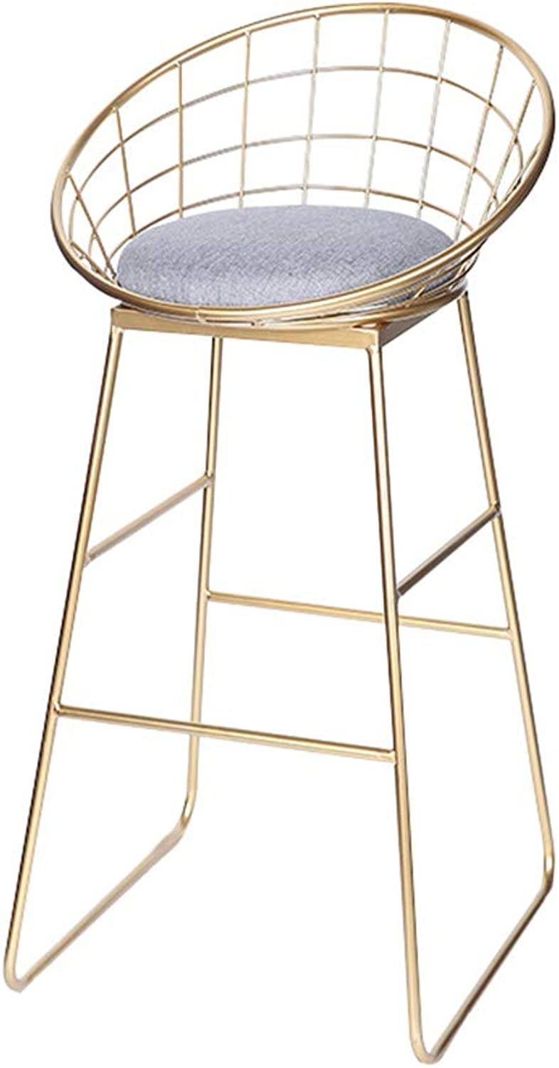 Bar Stool High Stool Dining Chair Iron Bar Chair Modern Minimalist High Stool Bar Chair Creative Hollow Bench Backrest High Stool High 95cm