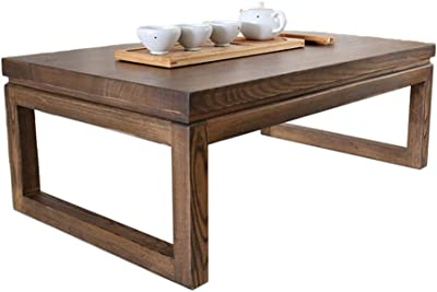 Coffee Tables Coffee Table Old Elm Tatami Coffee Table Bay Window Table Japanese Low Table Balcony Small Coffee Table Living Room Simple Tea Table Side (Color : Brown, Size : 60 * 40 * 30cm)