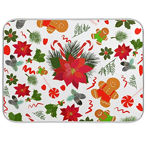 UMIRIKO Gingerbread Poinsettia Merry Christmas Dish Drying Mat for Kitchen Counter Flowers Large Kitchen Dishes Drainer Mat Absorbent Drying Rack Pad 18x24in 2022662