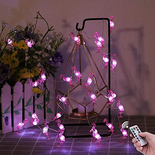 HDNICEZM Flamingo Decorative String Lights, 13.85 Ft 40 Cold White LED Weatherproof Battery Operated 8 Modes Spring Fairy Lights for Holiday Parties Bedrooms Weddings Gardens with Remote and Timer