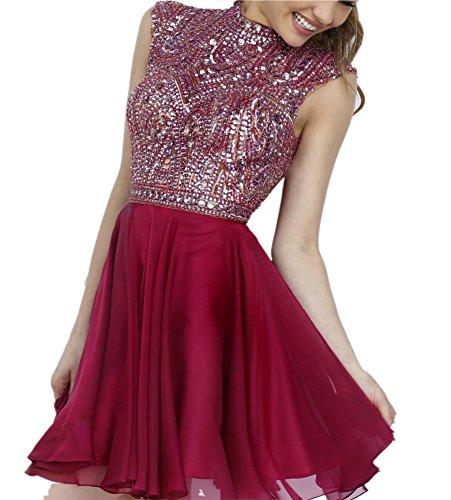 Miss Chics Women Chiffon High-neck Short Beaded Prom Dress Homecoming Dress 2016(6,Maroon)