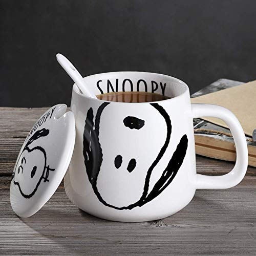 Taza de cerámica Snoopy para hombres y mujeres taza linda tendencia creativa...