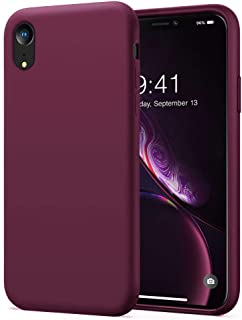 KUMEEK iPhone XR Case, Soft Silicone Gel Rubber Bumper Case Anti-Scratch Microfiber Lining Hard Shell Shockproof Full-Body Protective Case Cover for iPhone XR Case-WineRed