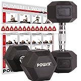POWRX - Manubri Pesi esagonali gommati 20 kg Set (2 x 10 kg) + PDF Workout (Nero)