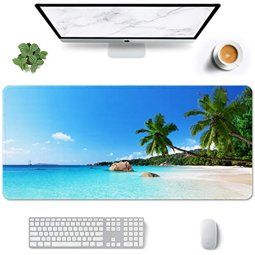Auhoahsil Large Mouse Pad, Full Desk XXL Extended Gaming Mouse Pad 35' X 15', Waterproof Desk Mat with Stitched Edges, Non-Slip Laptop Computer Keyboard Mousepad for Office and Home, Beach Design