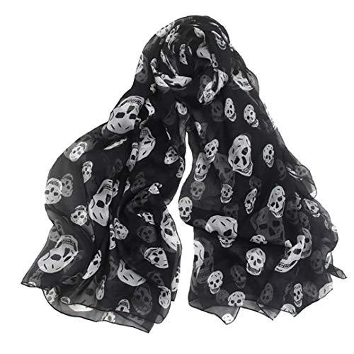 PiniceCore Pañuelo De Gasa Impresión del Cráneo De La Bufanda del Mantón De Peso Ligero De Verano Beach Bufandas Largas para Mujeres ()