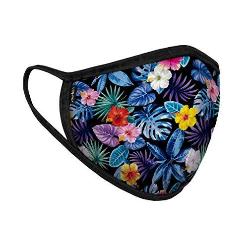 Yourban Mascarilla lavable y reutilizable para unisex (Certificada UNE0065:2020) Mediano Talla única Flores de medianoche