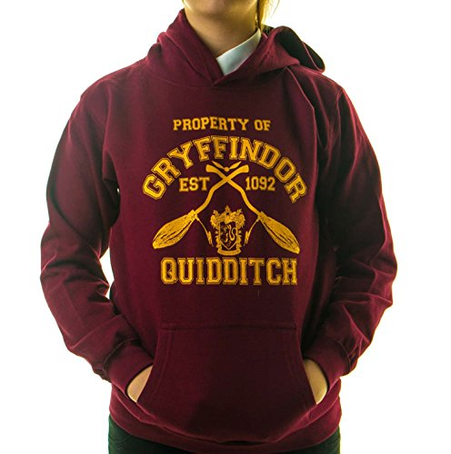 "Kapuzen-Sweatshirt mit Aufschrift ""Property of Gryffindor Quidditch"", Harry Potter Hogwarts"