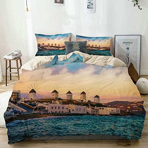 rwwrewre Decorative Duvet Cover Sets Bed Sheets,Beige,Sunset View of Mykonos seafront with Windmills,3 Piece Bedding Set with 2 Pillow Cases King Size