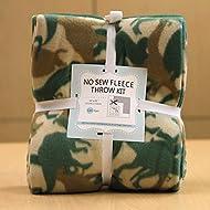 Dinosaurs Go Camouflage No-Sew Throw Fleece Fabric Kit (50x60)