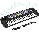 Shayson Piano para Niños 37 Teclas multifunción Teclado Electrónico Piano Organo de Piano con Pantalla LCD Juguete Educativo para Pequeños Niños Niños (Negro)