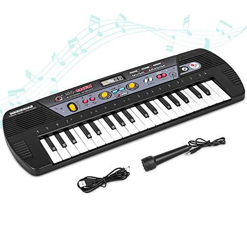 Shayson 37 Tasten Keyboard, Digital Musik Klavier mit Mikrofon für Kinder Geschenk, Elektronische Klavier Spielzeug mit FM Radio für Kinder und Einsteiger