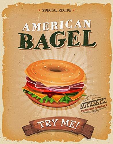 HONGXIN Bagel American Diner - Letrero de metal vintage para decoración del hogar, bar, pub, garaje, banda, cerveza, huevos, café, supermercado, granja, jardín, dormitorio